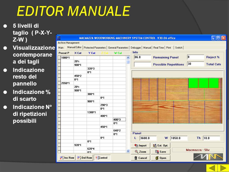 EDITOR MANUALE 5 livelli di taglio ( P-X-Y-Z-W )