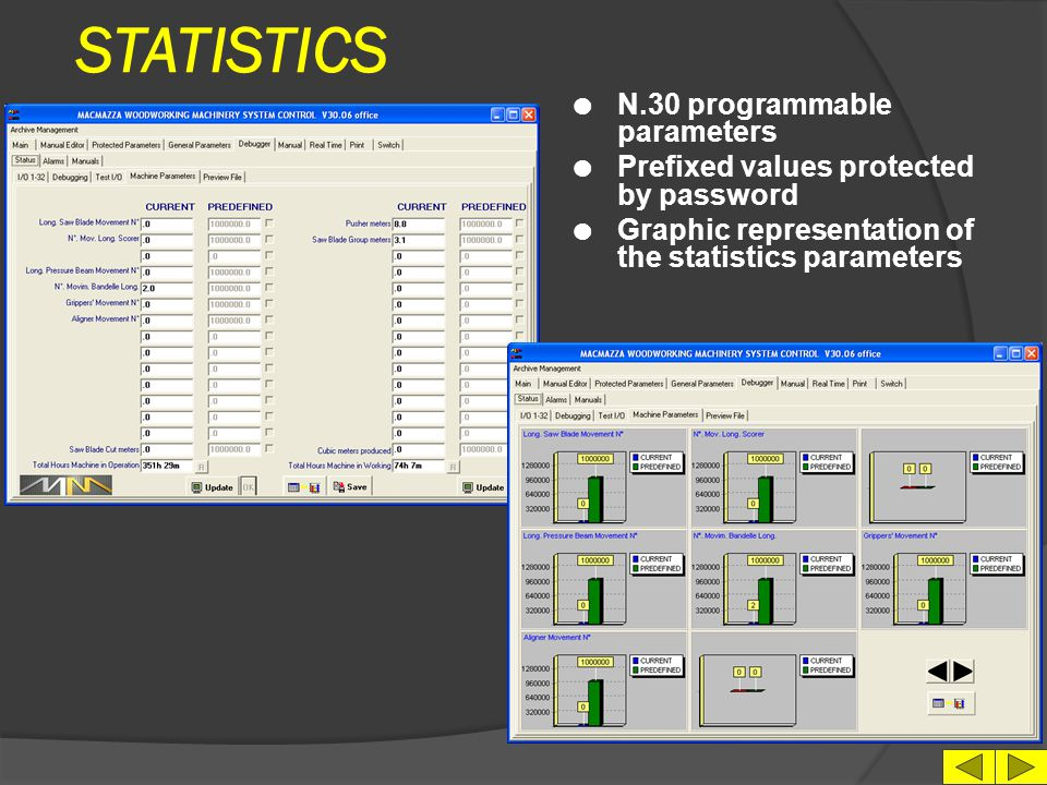 STATISTICS N.30 programmable parameters