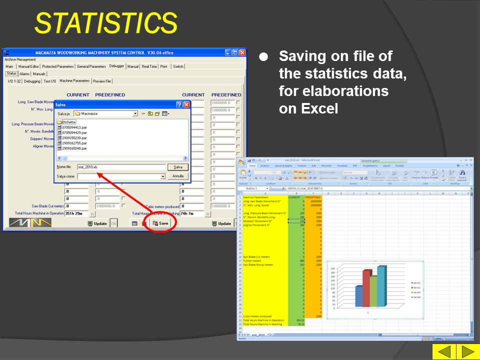 STATISTICS Saving on file of the statistics data, for elaborations on Excel