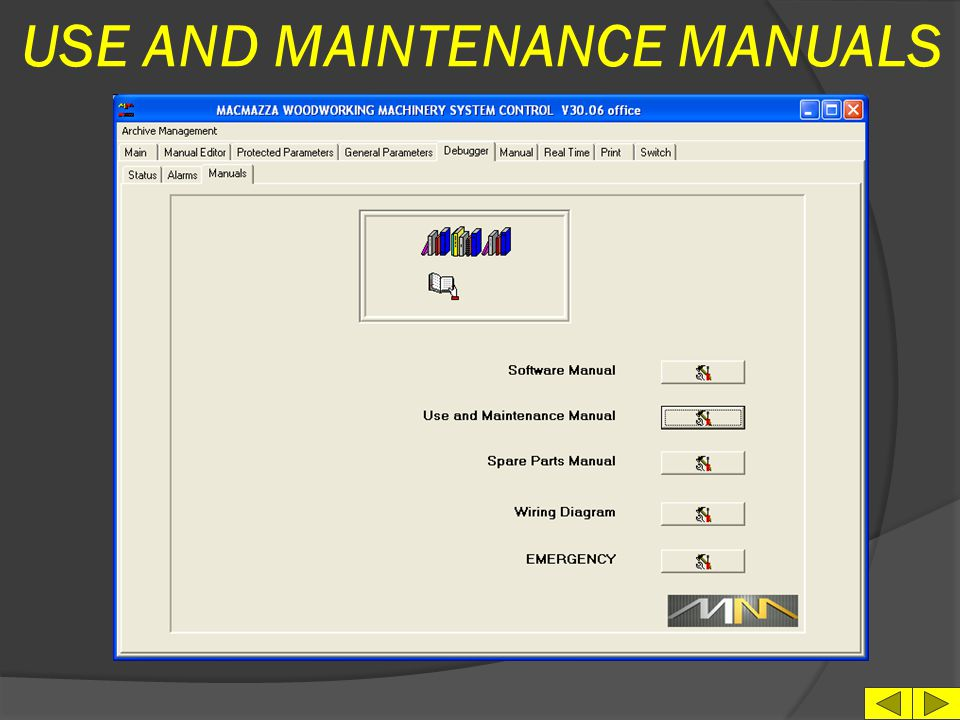USE AND MAINTENANCE MANUALS