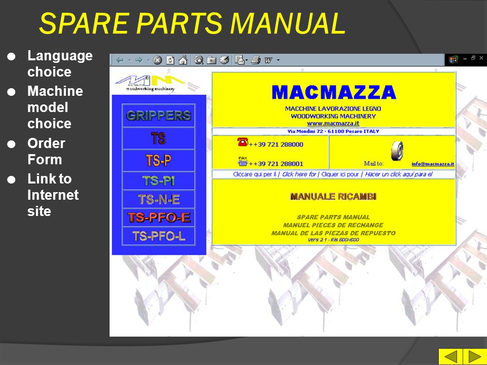 SPARE PARTS MANUAL Language choice Machine model choice Order Form