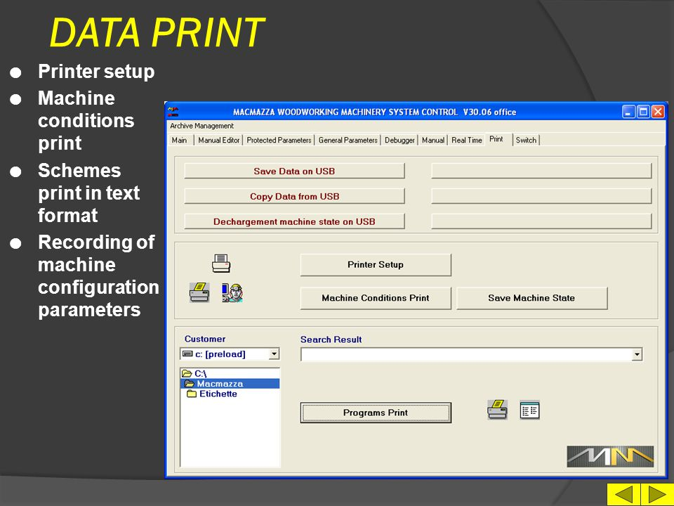 DATA PRINT Printer setup Machine conditions print