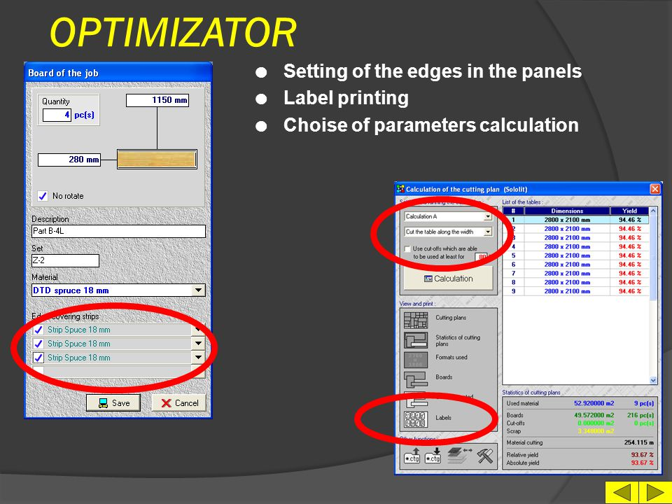 OPTIMIZATOR Setting of the edges in the panels Label printing