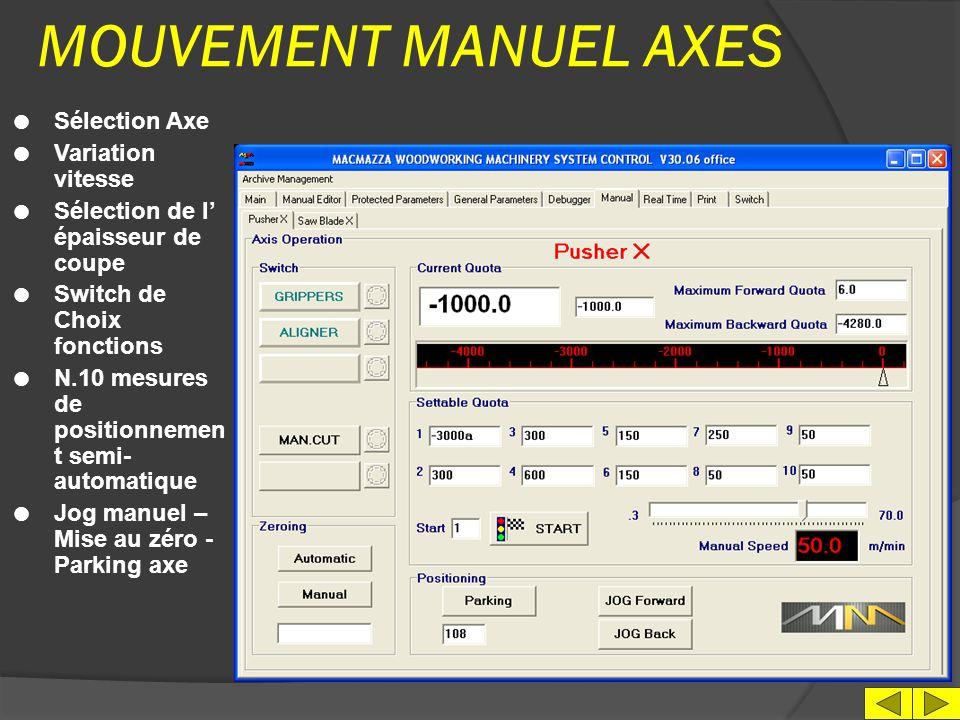 MOUVEMENT MANUEL AXES Sélection Axe Variation vitesse