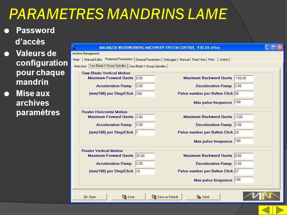 PARAMETRES MANDRINS LAME
