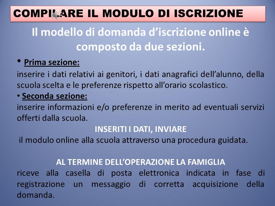 Il modello di domanda d'iscrizione online è composto da due sezioni.