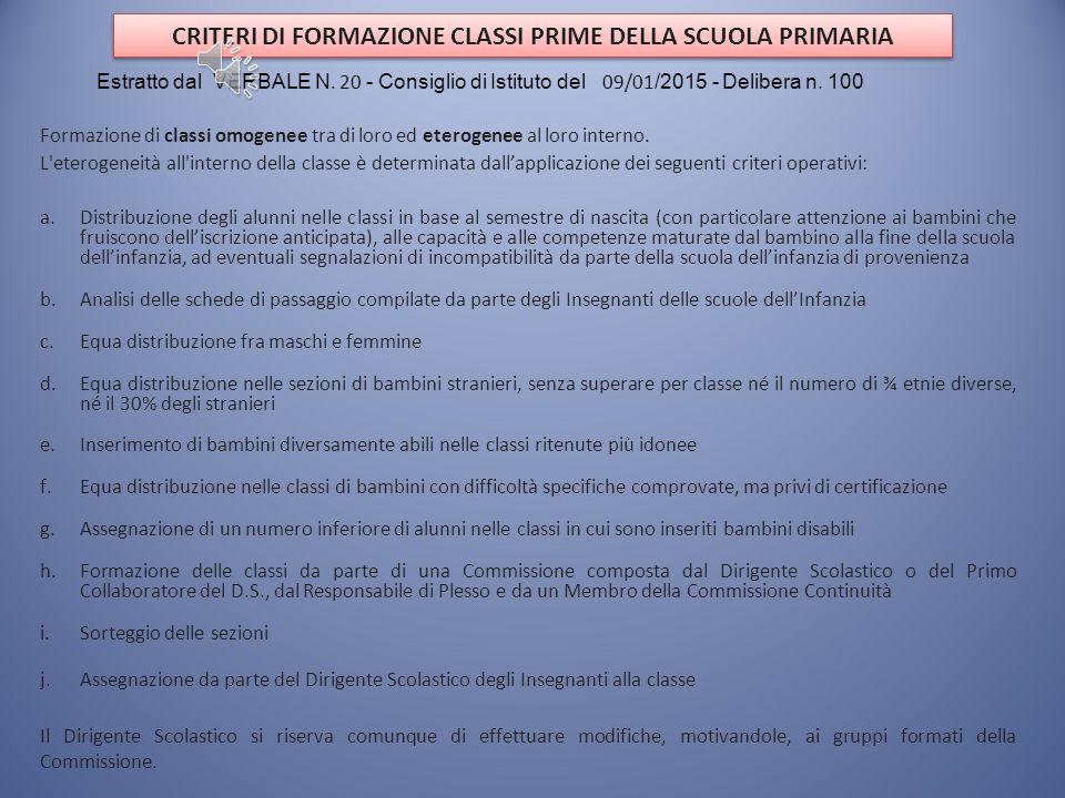 CRITERI DI FORMAZIONE CLASSI PRIME DELLA SCUOLA PRIMARIA