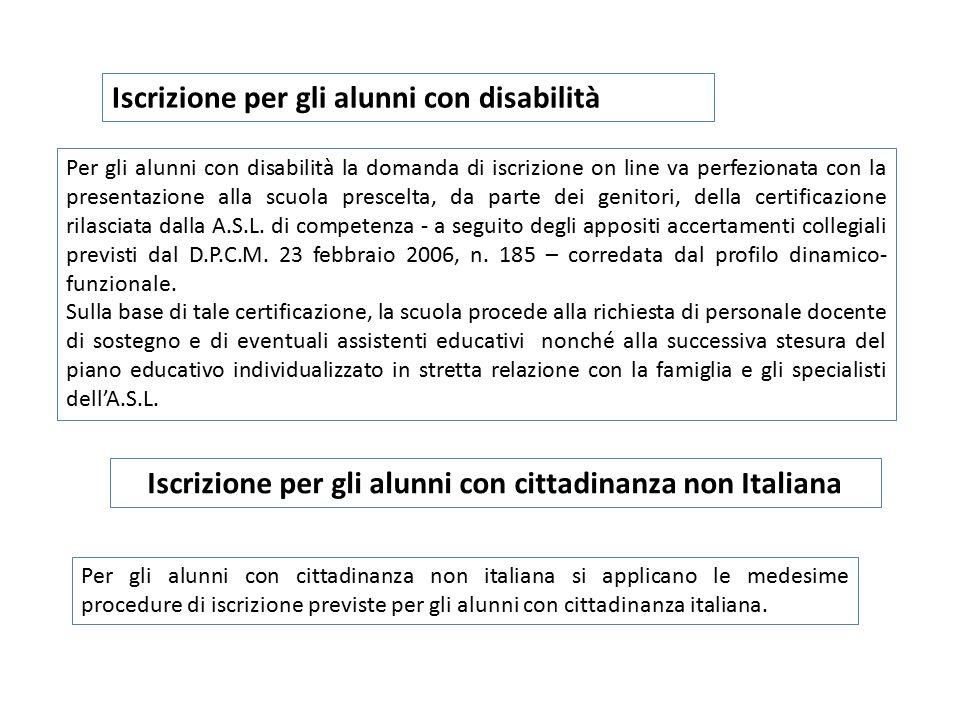 Iscrizione per gli alunni con cittadinanza non Italiana