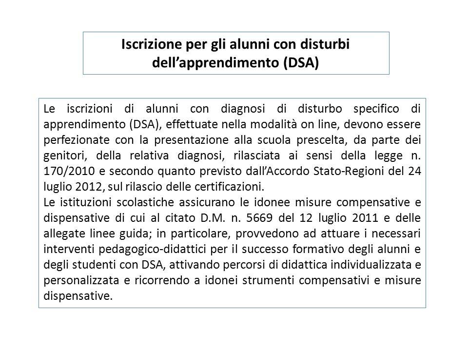 Iscrizione per gli alunni con disturbi dell'apprendimento (DSA)
