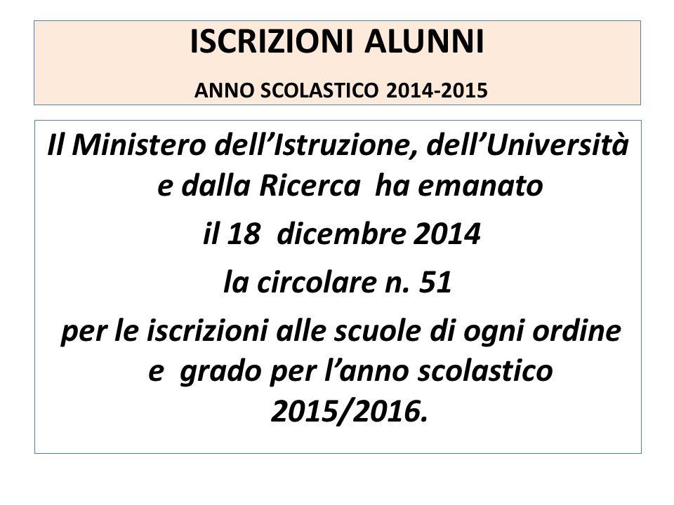 ISCRIZIONI ALUNNI ANNO SCOLASTICO 2014-2015