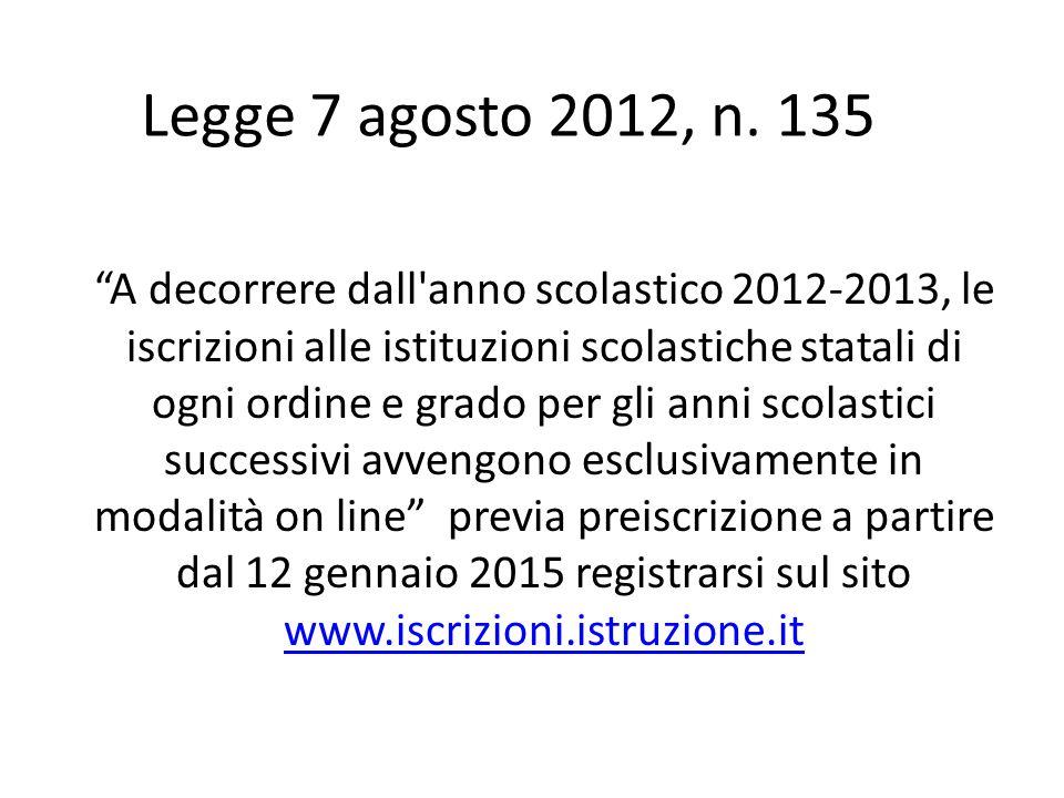 Legge 7 agosto 2012, n. 135