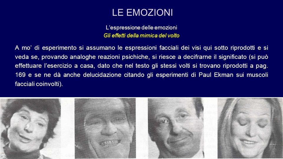 LE EMOZIONI L'espressione delle emozioni. Gli effetti della mimica del volto.