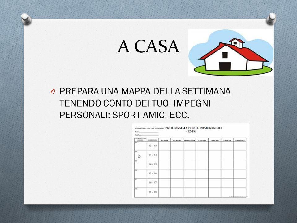 A CASA PREPARA UNA MAPPA DELLA SETTIMANA TENENDO CONTO DEI TUOI IMPEGNI PERSONALI: SPORT AMICI ECC.