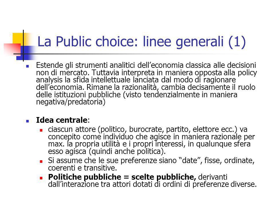 La Public choice: linee generali (1)