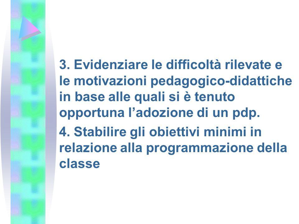 3. Evidenziare le difficoltà rilevate e le motivazioni pedagogico-didattiche in base alle quali si è tenuto opportuna l'adozione di un pdp.