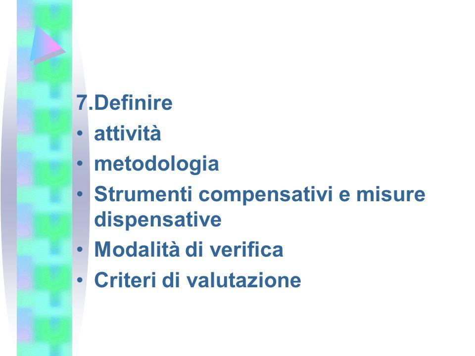 7.Definire attività. metodologia. Strumenti compensativi e misure dispensative. Modalità di verifica.