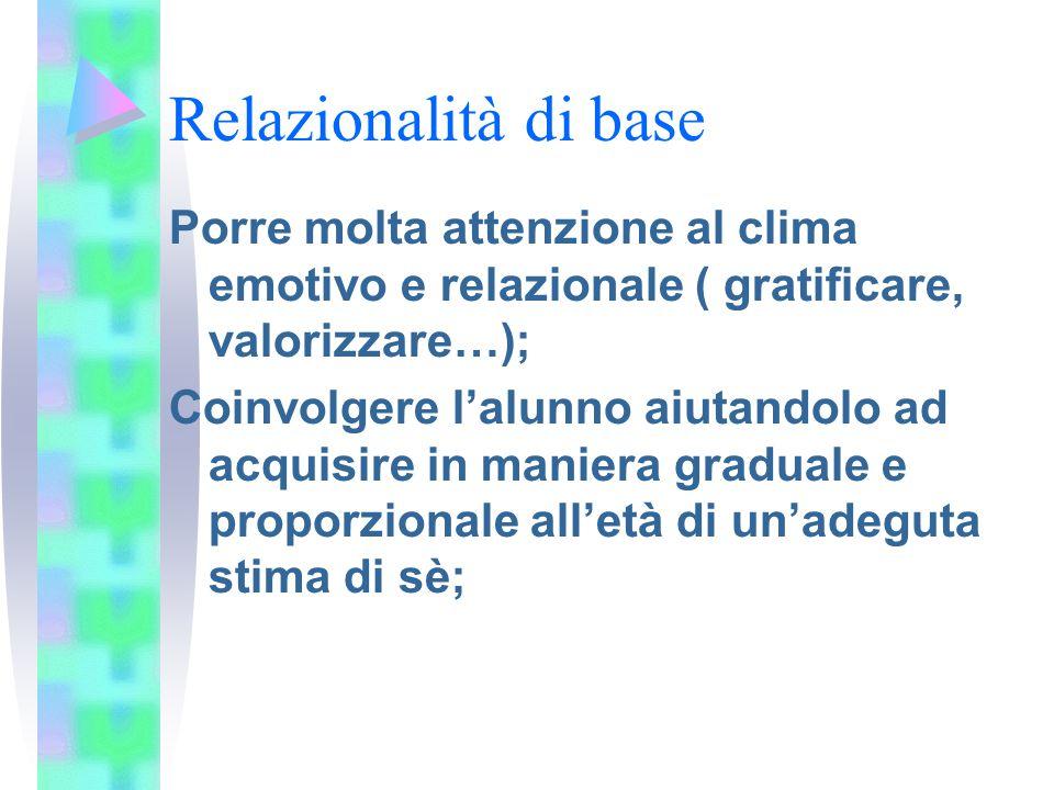 Relazionalità di base Porre molta attenzione al clima emotivo e relazionale ( gratificare, valorizzare…);