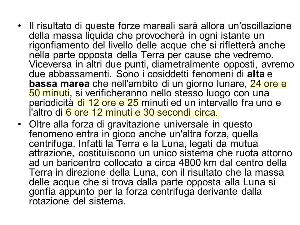 Il risultato di queste forze mareali sarà allora un oscillazione della massa liquida che provocherà in ogni istante un rigonfiamento del livello delle acque che si rifletterà anche nella parte opposta della Terra per cause che vedremo. Viceversa in altri due punti, diametralmente opposti, avremo due abbassamenti. Sono i cosiddetti fenomeni di alta e bassa marea che nell ambito di un giorno lunare, 24 ore e 50 minuti, si verificheranno nello stesso luogo con una periodicità di 12 ore e 25 minuti ed un intervallo fra uno e l altro di 6 ore 12 minuti e 30 secondi circa.