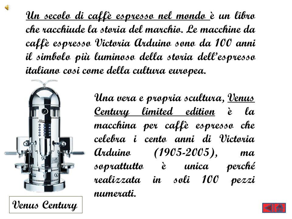 Un secolo di caffè espresso nel mondo è un libro che racchiude la storia del marchio. Le macchine da caffè espresso Victoria Arduino sono da 100 anni il simbolo più luminoso della storia dell'espresso italiano cosi come della cultura europea.