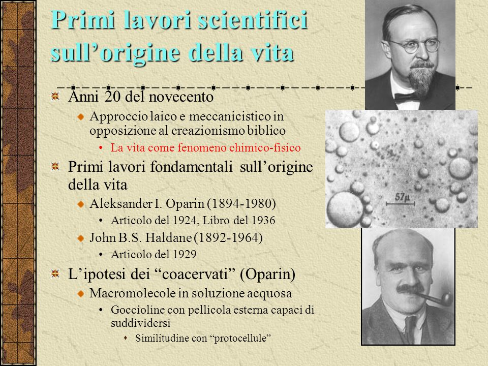 Primi lavori scientifici sull'origine della vita