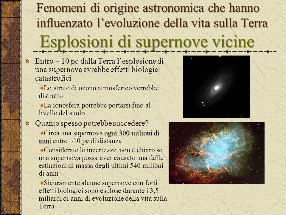 Fenomeni di origine astronomica che hanno influenzato l'evoluzione della vita sulla Terra Esplosioni di supernove vicine