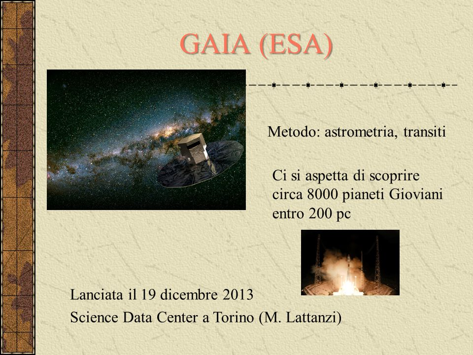 GAIA (ESA) Metodo: astrometria, transiti