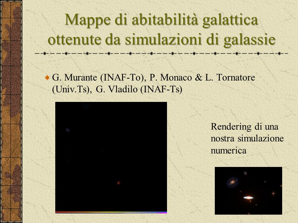 Mappe di abitabilità galattica ottenute da simulazioni di galassie