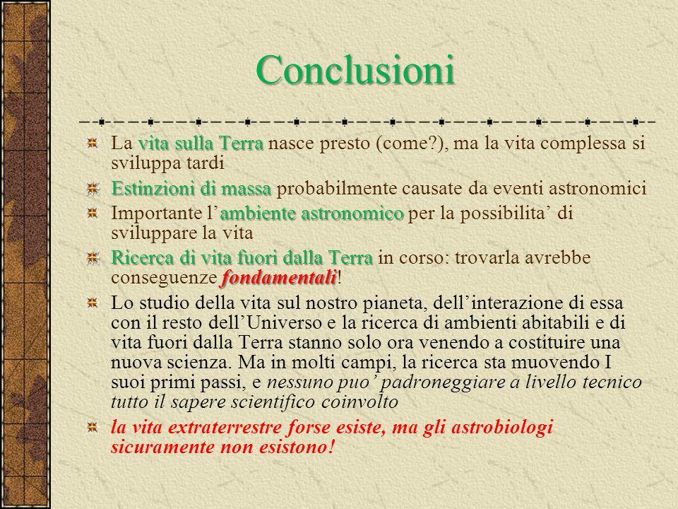 Conclusioni La vita sulla Terra nasce presto (come ), ma la vita complessa si sviluppa tardi.