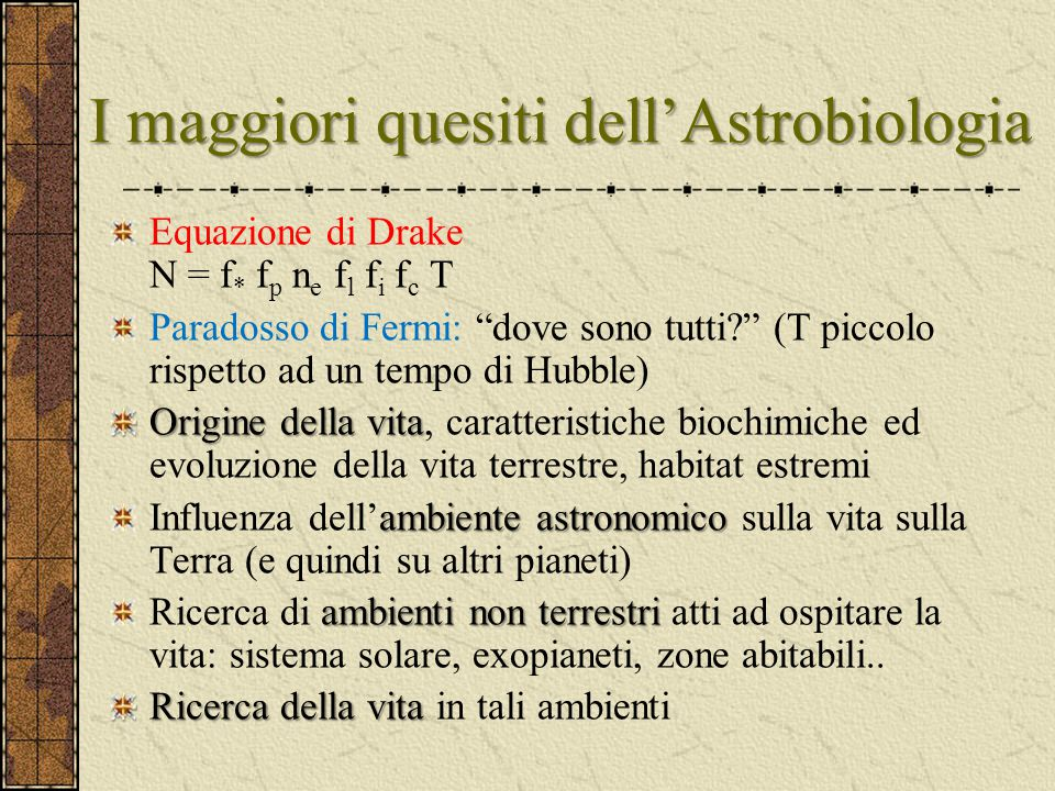 I maggiori quesiti dell'Astrobiologia