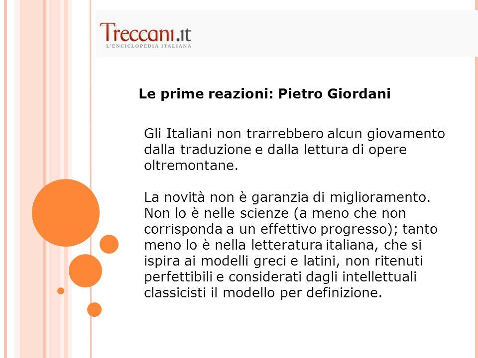 Le prime reazioni: Pietro Giordani