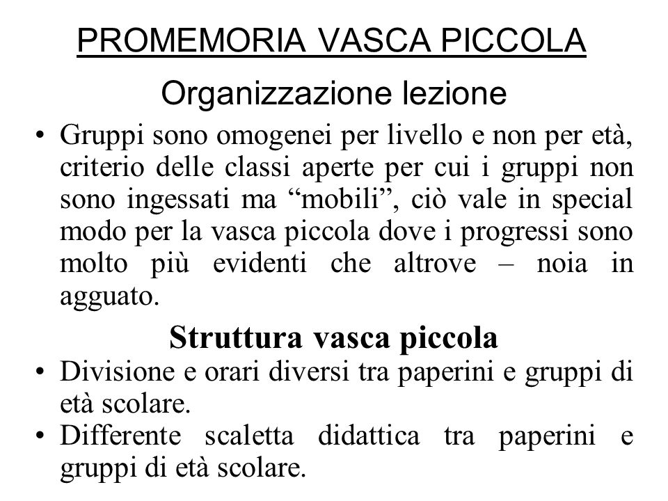 PROMEMORIA VASCA PICCOLA