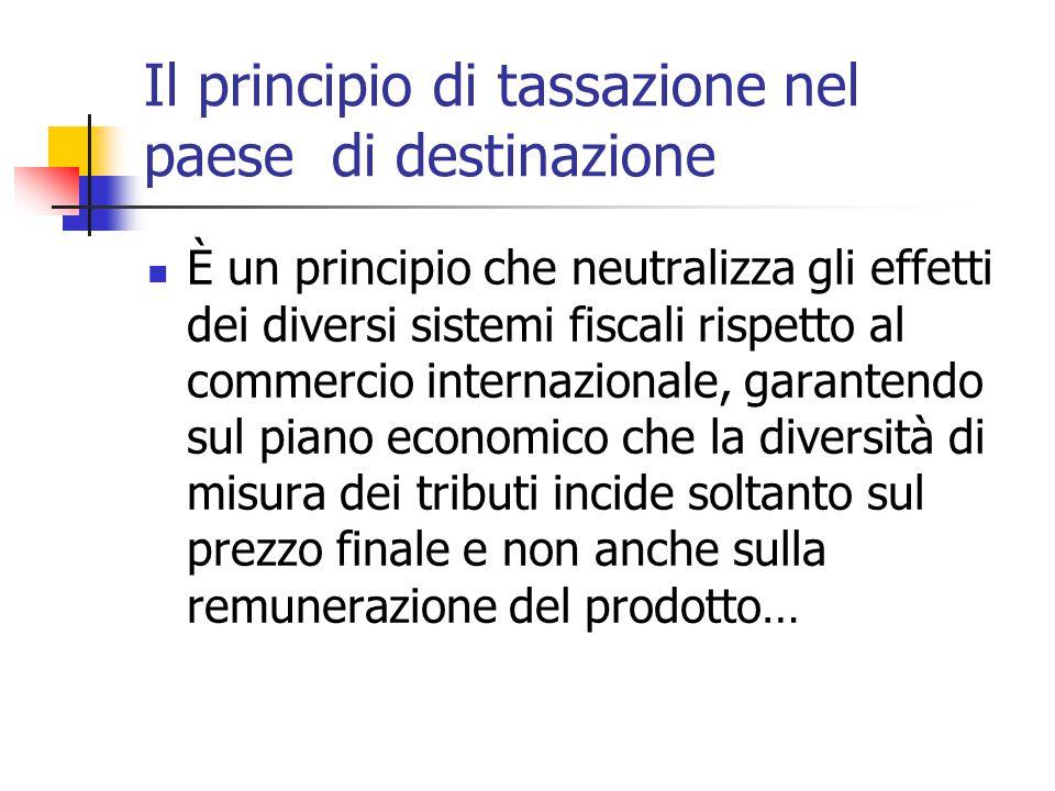 Il principio di tassazione nel paese di destinazione