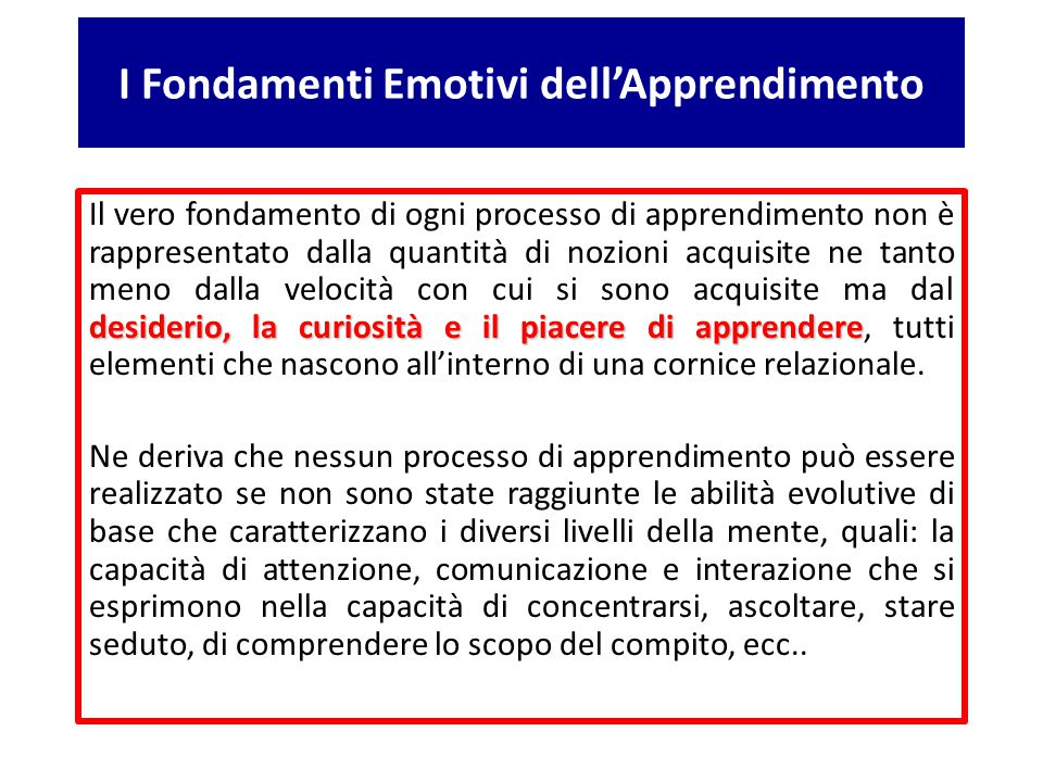 I Fondamenti Emotivi dell'Apprendimento