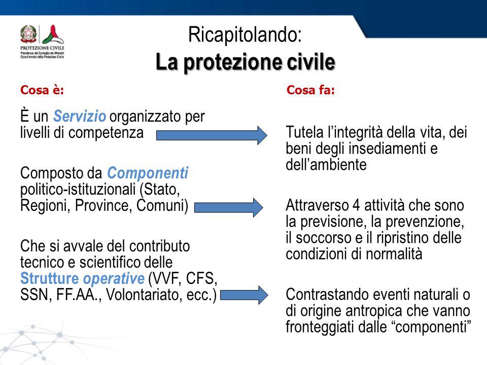 Ricapitolando: La protezione civile