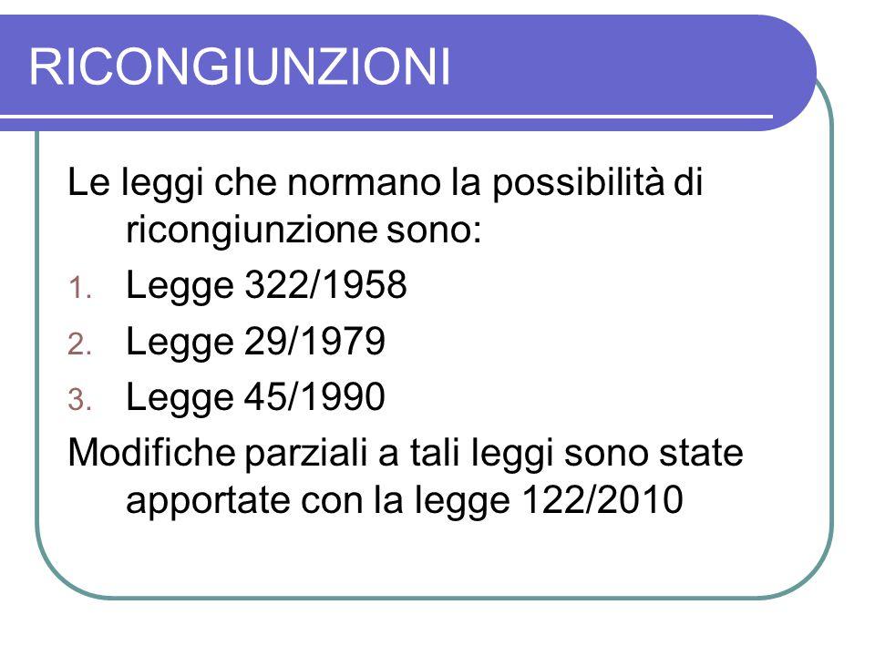 RICONGIUNZIONI Le leggi che normano la possibilità di ricongiunzione sono: Legge 322/1958. Legge 29/1979.