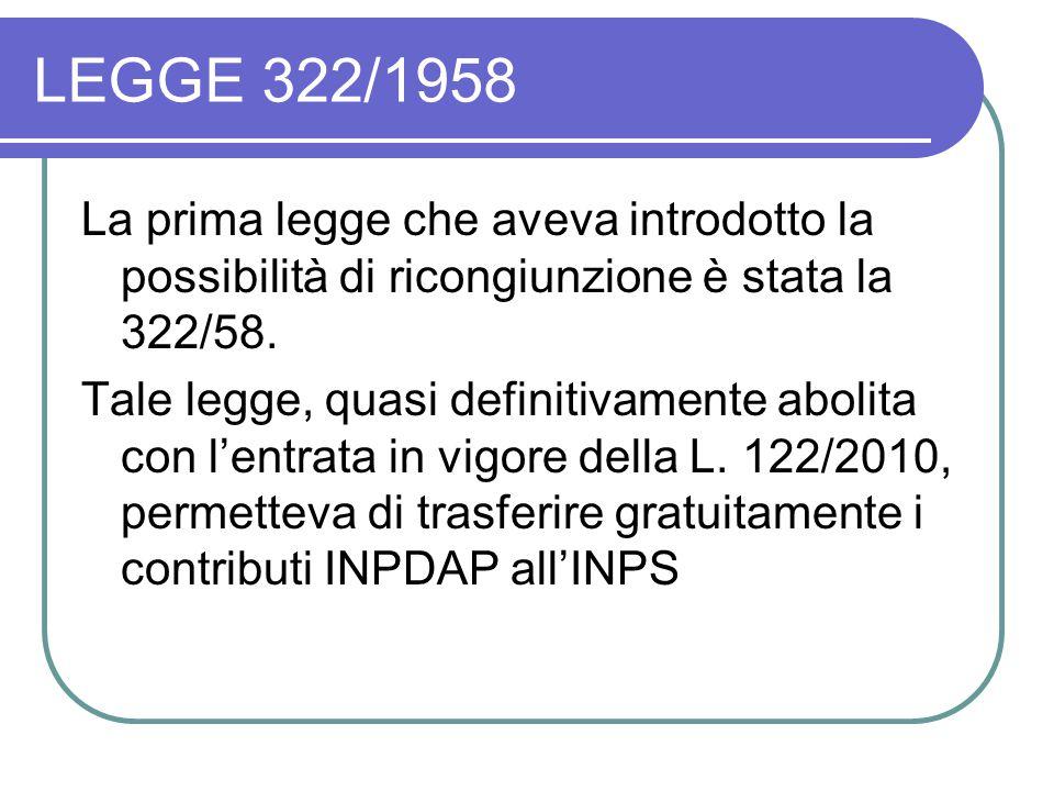 LEGGE 322/1958 La prima legge che aveva introdotto la possibilità di ricongiunzione è stata la 322/58.