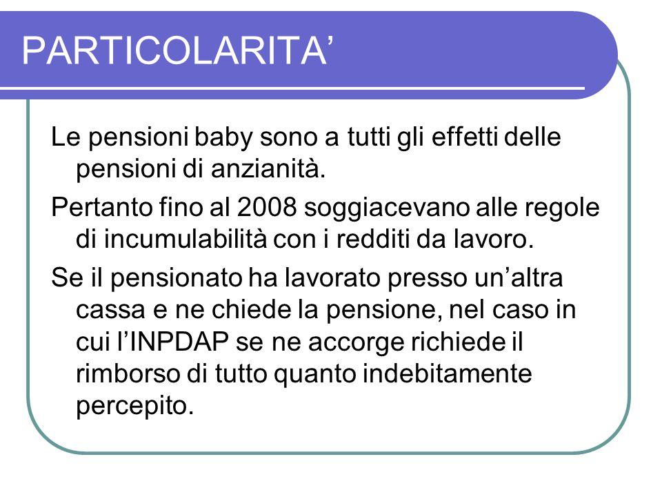 PARTICOLARITA' Le pensioni baby sono a tutti gli effetti delle pensioni di anzianità.