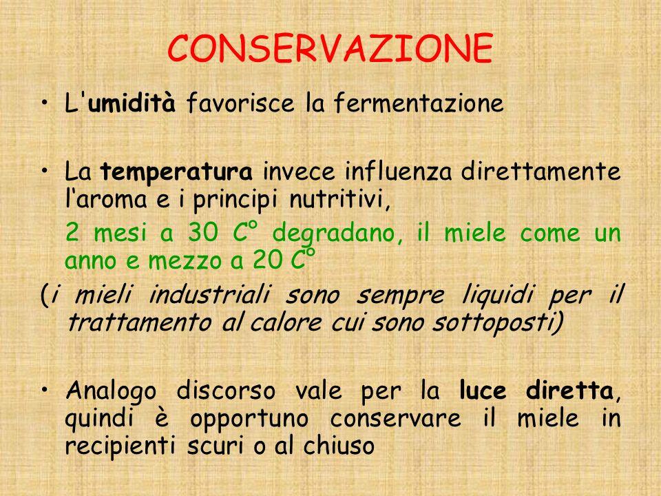CONSERVAZIONE L umidità favorisce la fermentazione