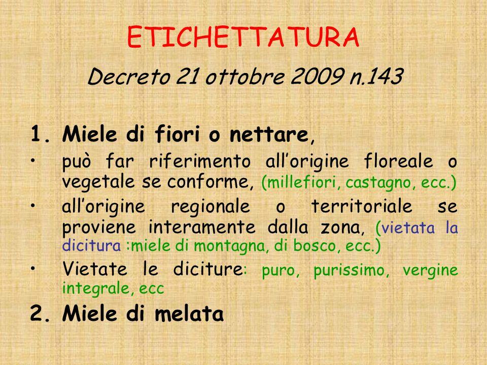 ETICHETTATURA Decreto 21 ottobre 2009 n.143 Miele di fiori o nettare,