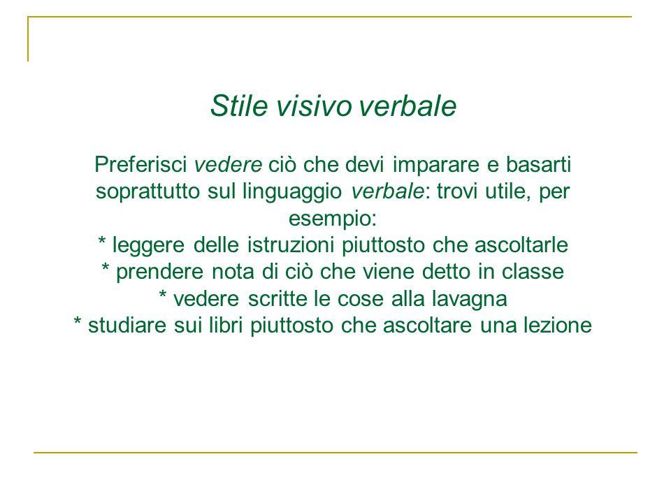 Stile visivo verbale Preferisci vedere ciò che devi imparare e basarti soprattutto sul linguaggio verbale: trovi utile, per esempio: