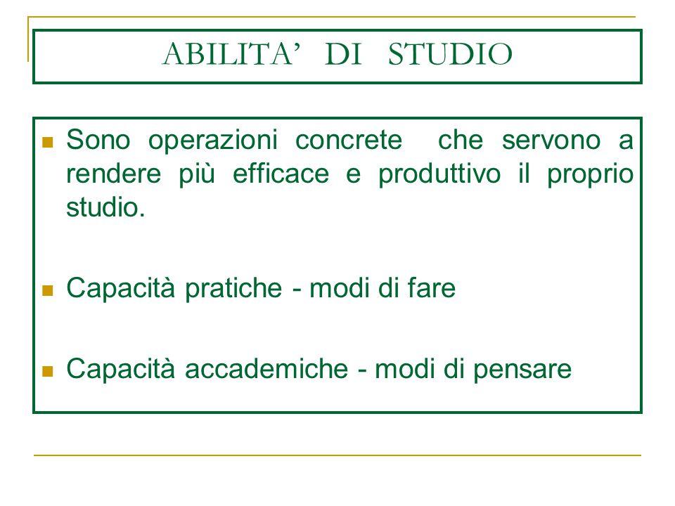 ABILITA' DI STUDIO Sono operazioni concrete che servono a rendere più efficace e produttivo il proprio studio.