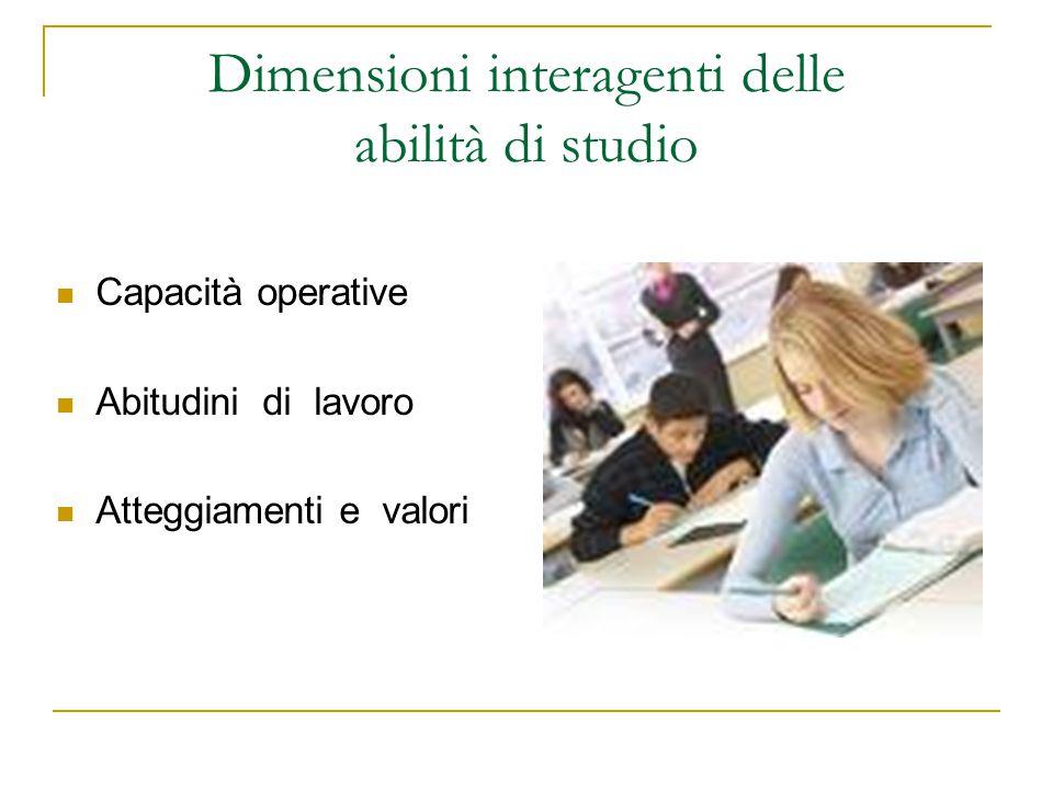 Dimensioni interagenti delle abilità di studio