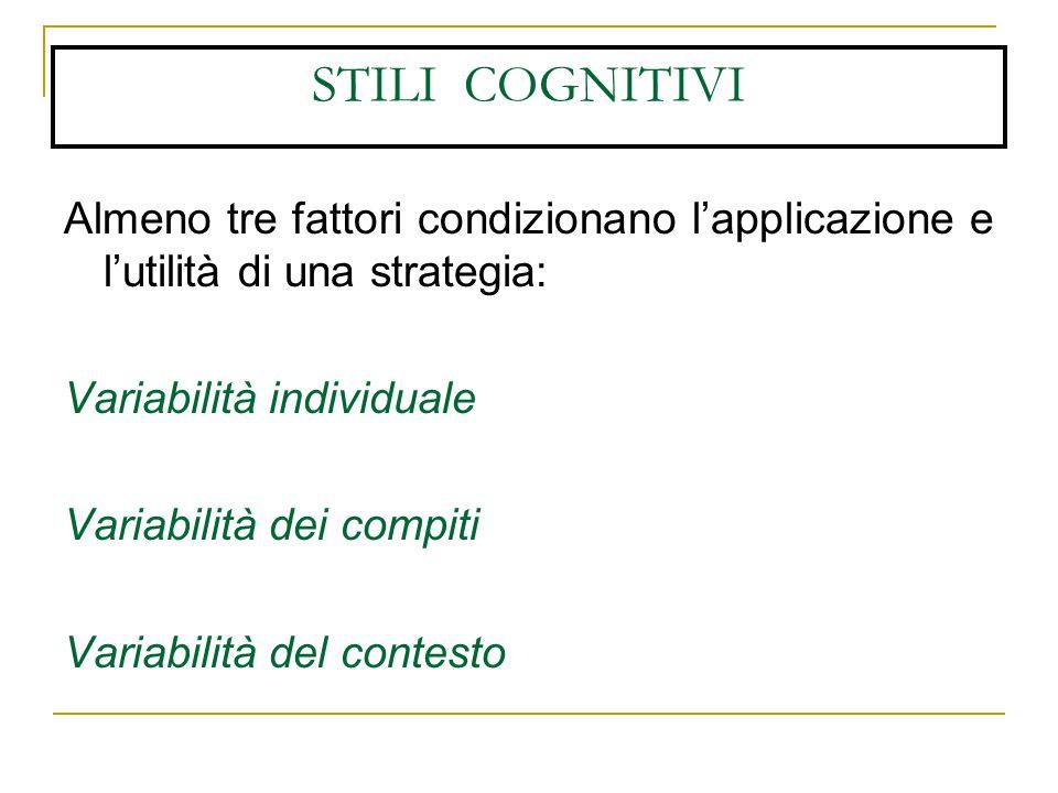STILI COGNITIVI Almeno tre fattori condizionano l'applicazione e l'utilità di una strategia: Variabilità individuale.