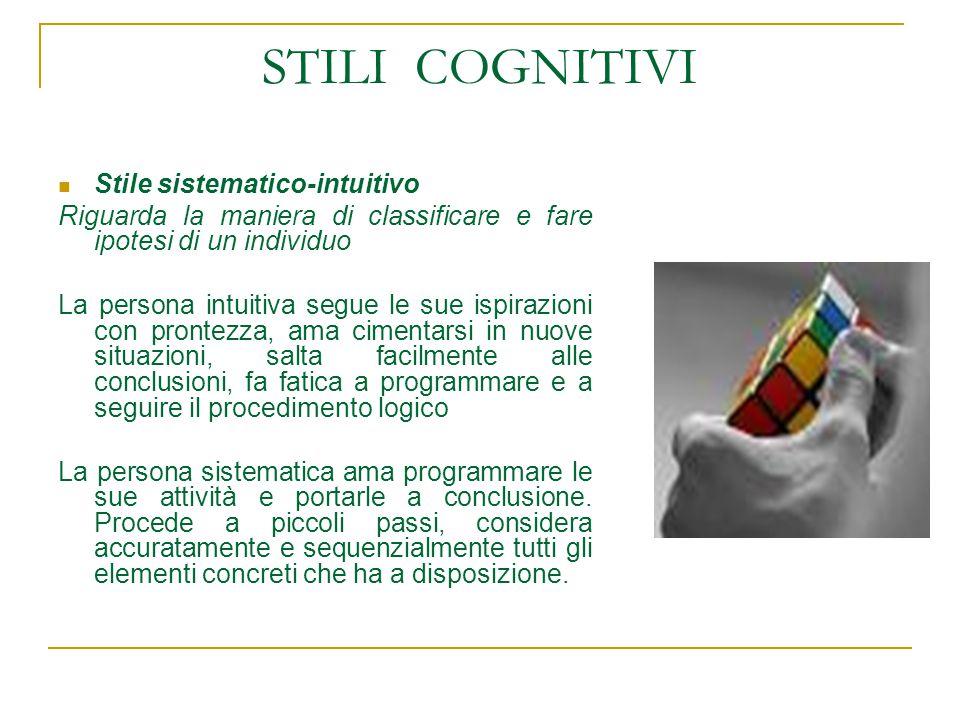 STILI COGNITIVI Stile sistematico-intuitivo