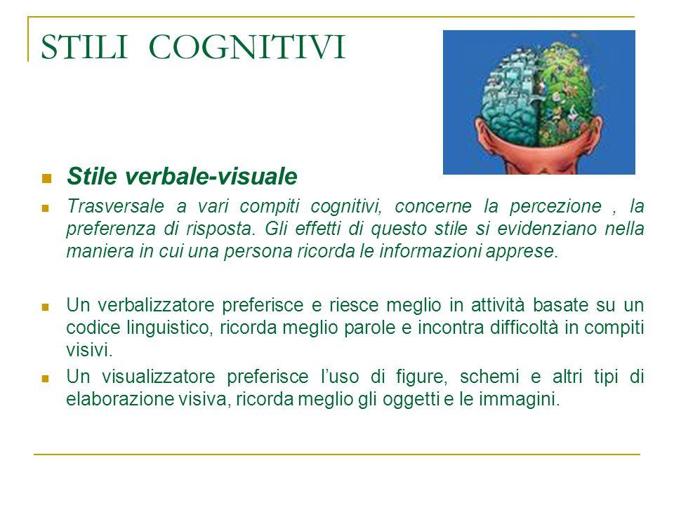 STILI COGNITIVI Stile verbale-visuale