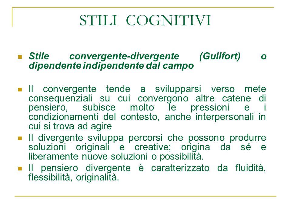 STILI COGNITIVI Stile convergente-divergente (Guilfort) o dipendente indipendente dal campo.