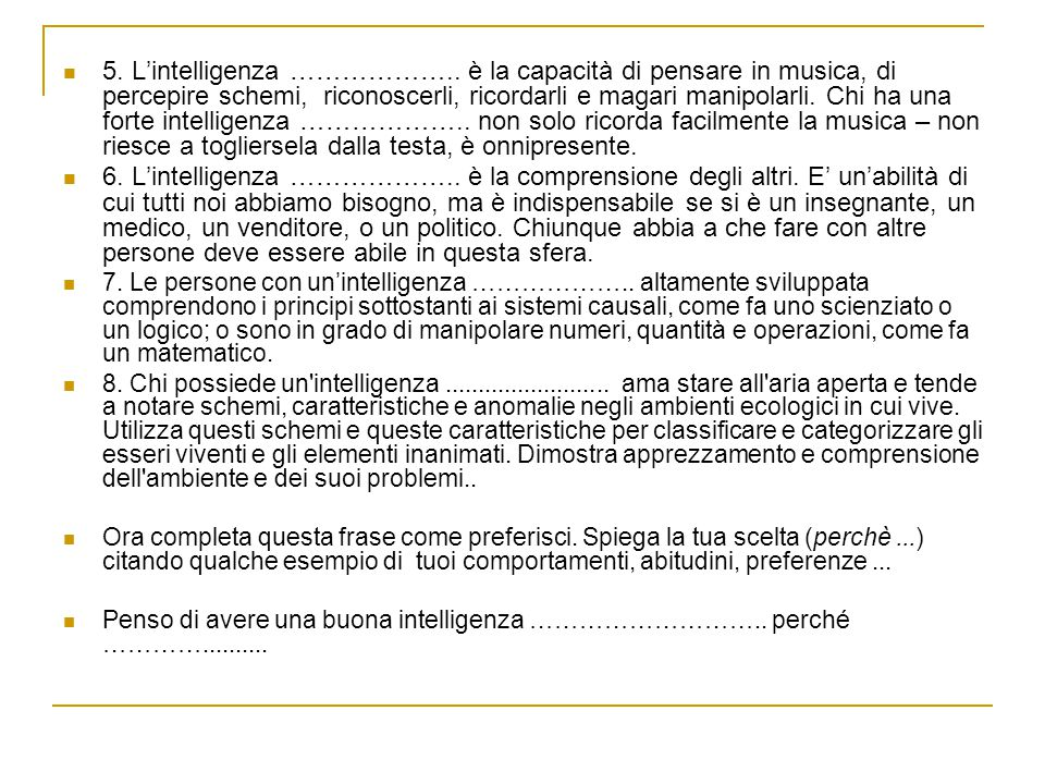 5. L'intelligenza ………………