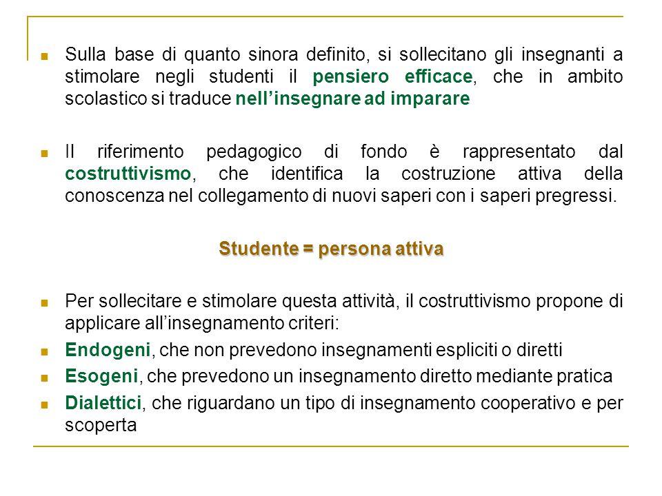 Studente = persona attiva