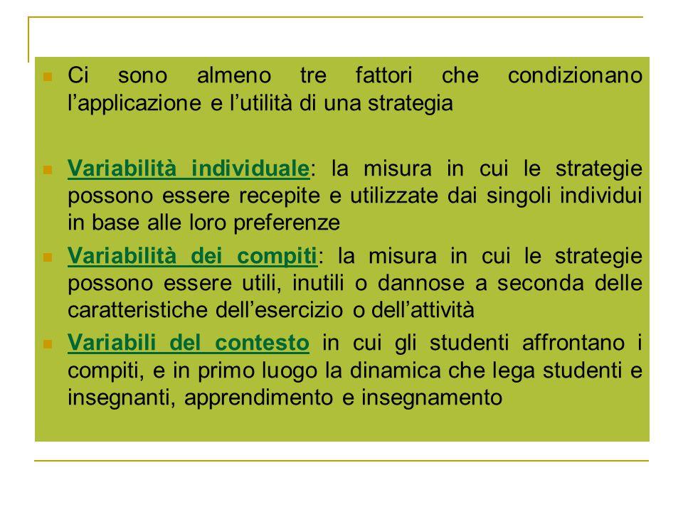 Ci sono almeno tre fattori che condizionano l'applicazione e l'utilità di una strategia