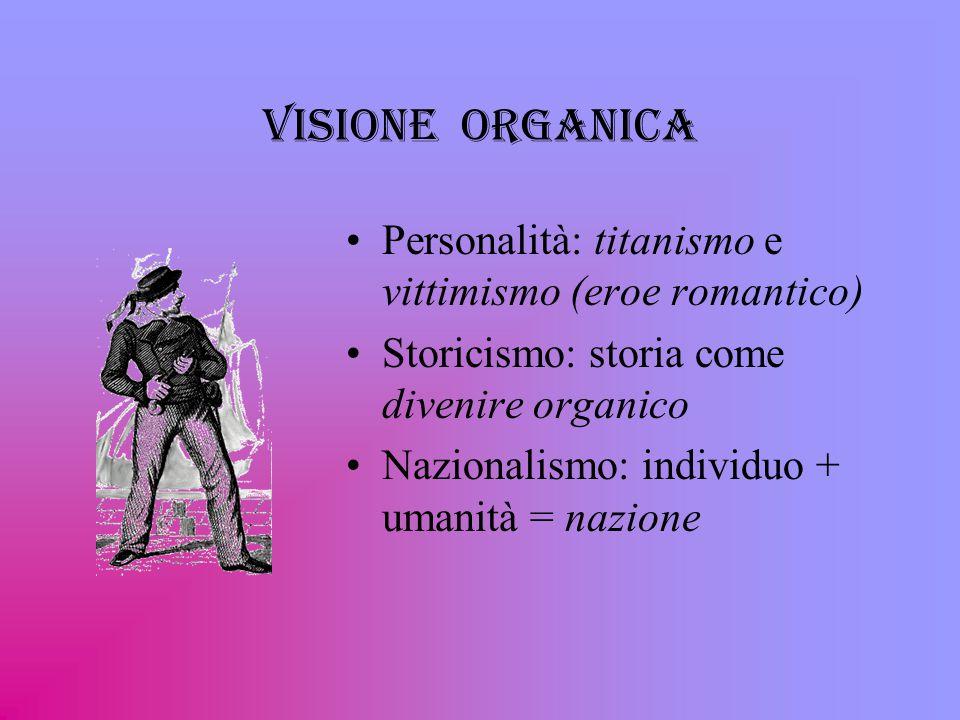 Visione organica Personalità: titanismo e vittimismo (eroe romantico)